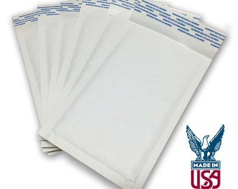 "Size #000 (4""x7"") White Kraft Bubble Mailer - Free Shipping!"