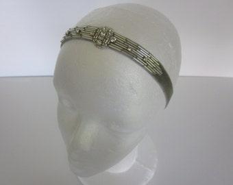 Silver Great Gatsby headband, Art Deco headband, rhinestone Crystal fascinator 1920s flapper wedding bridal stretch elastic headband,