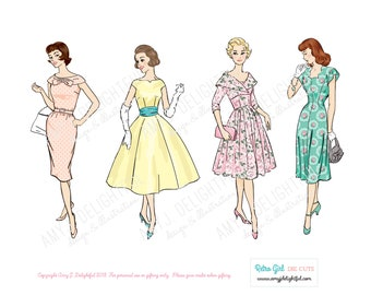 Printable RETRO GIRLS ReMix set of die cuts! - Digital File Instant Download- hand drawn, ephemera, vintage lady, 1960s, pastels, collage