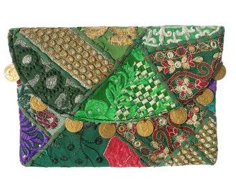 Indian Vintage Beatiful Embroidered Patch Work Gypsy Banjara Clutch Shoulder Bag Tribal Banjara Vintage clutch , designer Clutch, sling Bag.