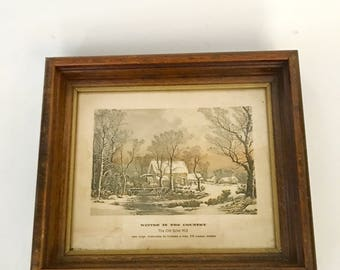 The old Grist Mill lithograph Winter in the Country framed art Currier and Ives , Farm & Country Scenes