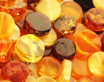 Polished Muliticolour Baltic Amber Tablet shape Beads with holes. 3 grams (approx 12 beads) or 10 grams (approx 38 beads), jewellery making