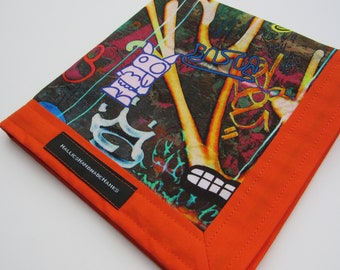 EDC Hank Graffiti Art Fabric with Vibrant Orange Border Handmade Handkerchief Gift for Him Gift for Her Every Day Carry
