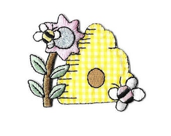 Beehive - Bumblebee - Bumble Bee - Gingham - Honey - Embroidered Iron On Applique Patch