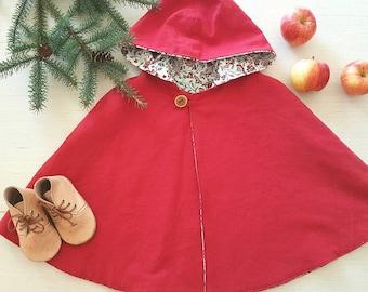 Red Cape, Little Red Riding Hood Cape, Reversible Cape, Girls Cape, Coat, Spring, Cloak, Toddler Girl, Christmas, Poncho,Dress Coat, Cloak