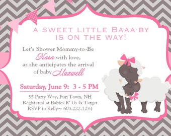 Lamb Baby Shower Invitation Girl Invitation Lamb Shower Invites Chevron Sheep Baby Shower Invitations Printable Shower Invitations Pink