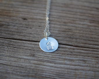 Pineapple disc necklace - Sterling silver