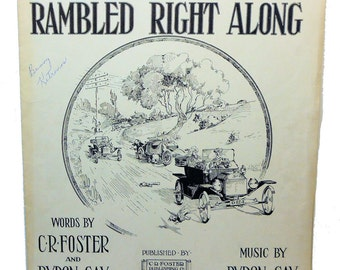 1914 Little Ford Rambled Right Along Vintage Sheet Music