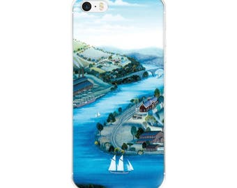 """iPhone Case, """"Factory Along The River"""" painting by Kathy Jakobsen"""