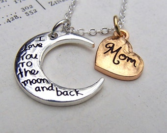 Mothers Day Gift Mother Jewelry Mom Necklace Mixed Metals Gift for Mom under 25 Moon Necklace Heart Jewellery