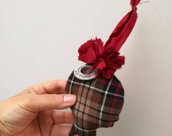 Brown pomegranate plushie, Christmas pomegranate plushie ornament of tartan cloth with red pompon and metal charm of wishes, γούρι ρόδι καφέ