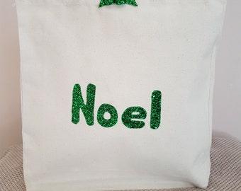 Green Noel canvas tote shoulder bag