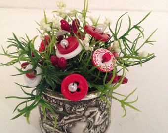 Valentine Button Bouquet~Silver Cupid Napkin-Country Shabby Cottage Chic Holiday Home Decor