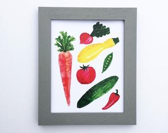 Garden Veggie Print   Watercolor Art   Kitchen Art   Foodie Art   Gallery Wall   Vegetable Art   Mothers Day Gift