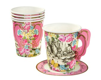 Truly Alice in Wonderland Paper Cups Handle & Saucers x 12 Mad Hatters Tea Party
