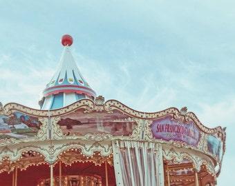 San Francisco Photograph, Pier 39 Carousel, Carousel Carnival Decor, Girls Room Art, Carnival Ride Photography, Pastel Nursery Decor Print