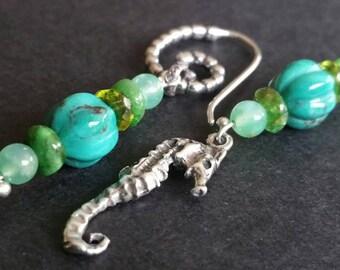 Silver Seahorse and Green Gemstones Turquoise Chrysoprase Peridot OOAK drop earrings
