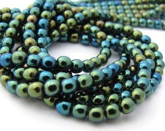 Iris Green 4mm Smooth Round Czech Glass Beads 100pc #2807