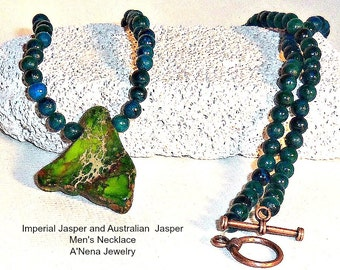 "Men's Necklace Genuine Imperial and Sapphire Australian Jasper   ""Prosperous"""
