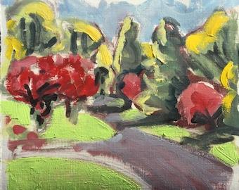 Hartriegel Weg, Herbst 2017, ORIGINAL Öl-Farben auf Schwerpapier Landschaftsmalerei von Shirley Kanyon, 8.3x8.5 Zoll, 21x21.5 cm