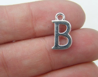 8 Letter B alphabet charms silver plated