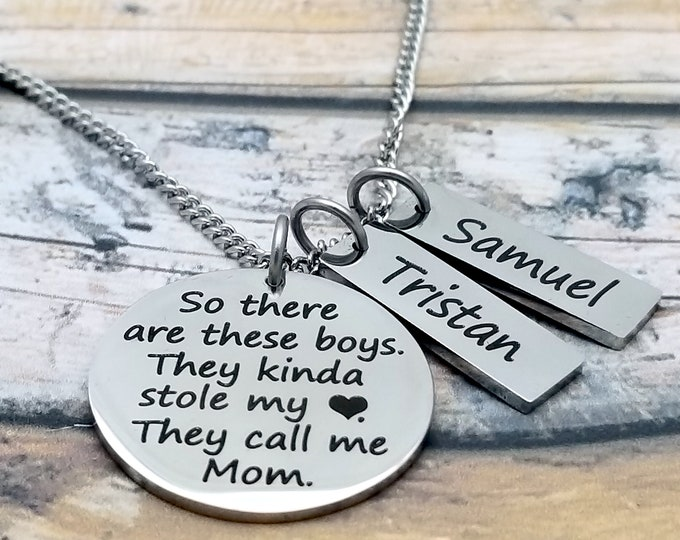 These Boys Stole My Heart Personalized Pendant Set, mother's jewelry, mother's necklace, grandmother's necklace, customized, children,