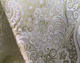 Brynn LIGHT GOLD Paisley Floral Brocade Chinese Satin Fabric by the Yard - 10054