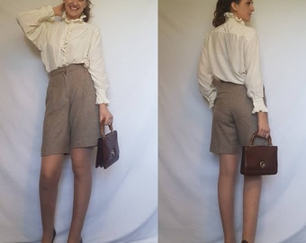 Pure wool vintage shorts beige brown houndstooth dogtooth check size small Made in USA