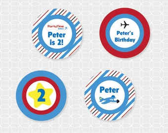 Airplane Party Circles - Personalized Printable