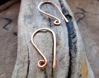 Copper Ear Wires - 20 gauge Copper Earwires 1 inch long - Ear hook wire findings - Handmade Jewelry Supplies - Hammered ear wires - Artisan