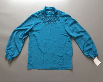 Victorian inspired silk blouse   embroidered silk poet blouse   electric blue silk blouse