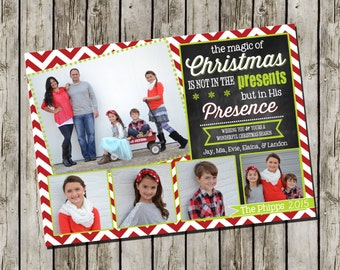 Photo Christmas Card   Chevron Chalkboard   Photo Holiday Card   Digital Christmas Card {L3}