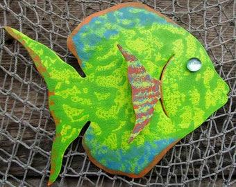 Fish Art For Bathroom Patio Metal Wall Art Tropical Sunfish Island beach House Coastal Wall Decor Lime Green Sea Life Bathroom Art 7 x 9
