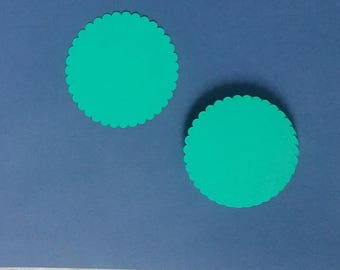3 inch Scalloped Circle Die cuts, 75 mm circle cardstock paper punches, pick color and qty, DIY notes / scrapbooks / tags / place cards