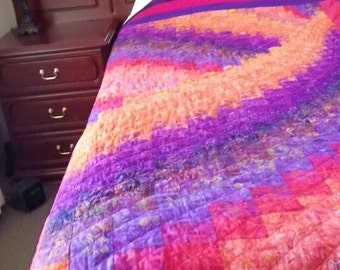 Bargello Patchwork Handmade Single Bed Quilt Red Yellow Purple Lap Rug