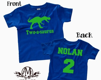 Dinosaur birthday shirt for kids, personalized t-rex birthday party shirt, front and back custom dinosaur shirts, boys birthday shirts