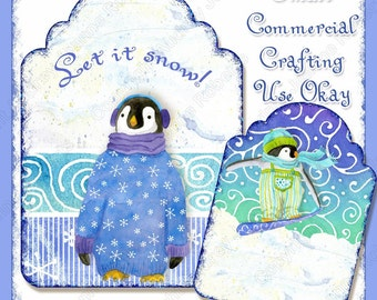 Winter Christmas Playful Penguins Digital Collage Sheets Shaped Atc tags AJR-266 Download snowboarder ski skiing penguin snow winter blue