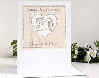 Pearl Anniversary Card - Personalised 30th Anniversary Card - Pearl Wedding Anniversary - 30th Wedding Card - Wedding Anniversary Card