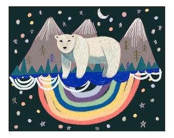 Polar Bear Art, Cute Animal Print, Polar Bear Nursery, Art for Kids Bedroom, Modern Children's Print, Scandinavian Home Decor, Bear Wall Art