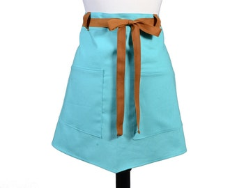 Womens Linen Retro Half Apron in Teal Straight Style Skirt with Rustic Brown Belt Loops and Ties and Two Pockets