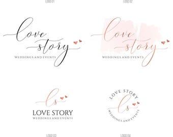 Wedding planner Logo, heart logo, Calligraphy Logo, Photography Logo and watermark, Photography Branding Kit, Premade rose gold logo, 064