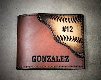 Baseball wallet, Player's Name and number engraved Free! Made in the USA