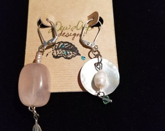 Mismatch quartz and pearl earrings