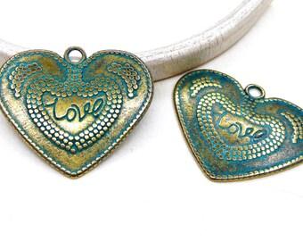 Green Patina over Brass Heart Pendant, Greek Metal Cast, Verdigris Patina, Metal Zamak Cast Pendant, Patina Heart Large Pendant 32x38mm-1 pc