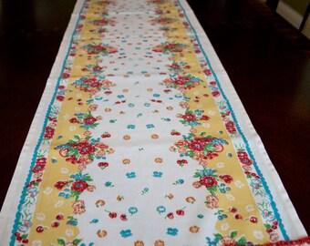 Table Runner Vintage Garden Print on white with Red Crotchet Trim /Retro table Runner