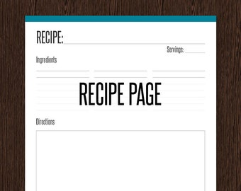 Recipe Page - Fillable - Recipe card, letter size -  Instant download - Printable PDF