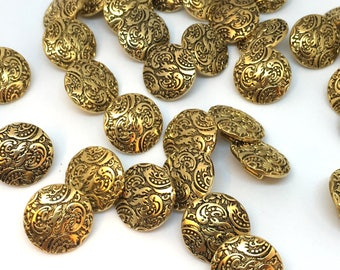 10 x gold buttons, metallic buttons, plastic buttons, metalised plastic, round buttons, vintage buttons, 15mm buttons, shirt buttons
