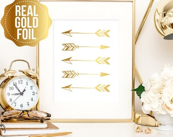 Gold arrow print, tribal print with real gold foil, art great in tribal themed home, arrow print, real gold tribal wall art, bedroom decor