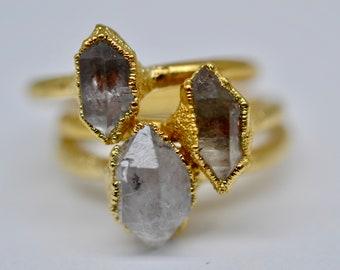 Herkimer Diamond Ring | Herkimer Diamond | Diamond Ring |Electroformed Ring | Electroforming|Herkimer Quartz Ring|Raw Crystal Ring|Stacking