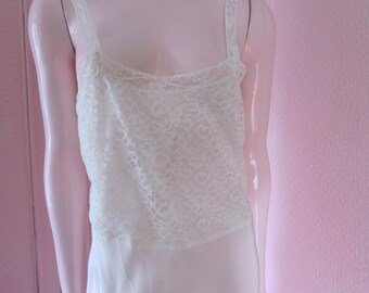 1940s White Rayon Slip with White Lace, Size 34